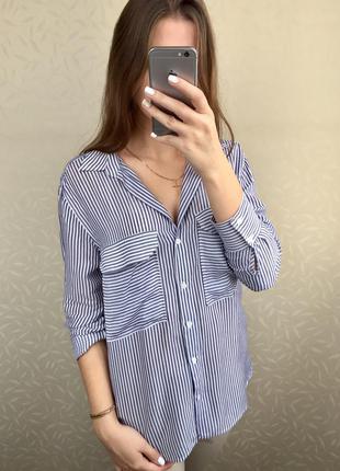 Рубашка в полоску oversize zara