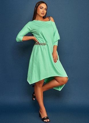 Ментоловое мятное платье с цепями платье большого размера батал полубатал боххо