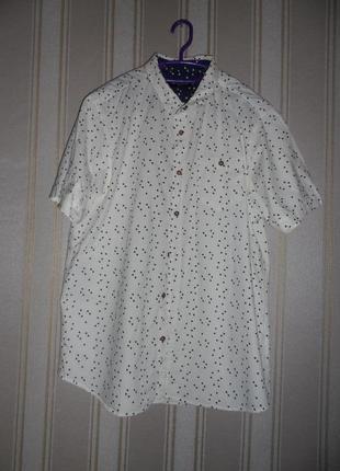 Мужская  лимонно бежевая рубашка короткий рукав размер 40 // l хлопок