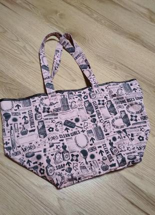 Яркий фирменный натуральный шоппер пляжная сумка soap and glory2 фото