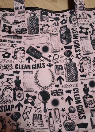 Яркий фирменный натуральный шоппер пляжная сумка soap and glory3 фото