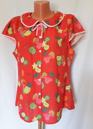 Винтаж.яркая блуза  в фруктовый принт lindy bop(размер 14-16)