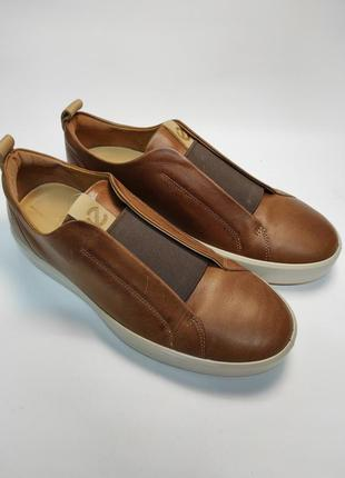 Слипоны кожаные ecco оригинал новые мокасины туфли коричневые