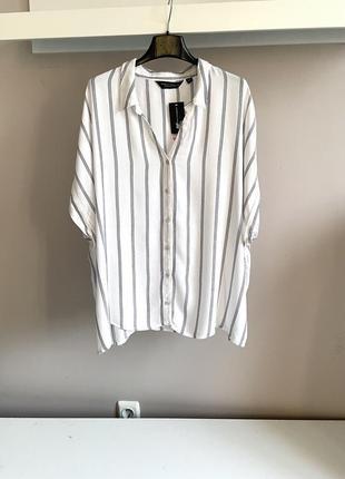 Легкая, натуральная рубашка свободного кроя в полоску