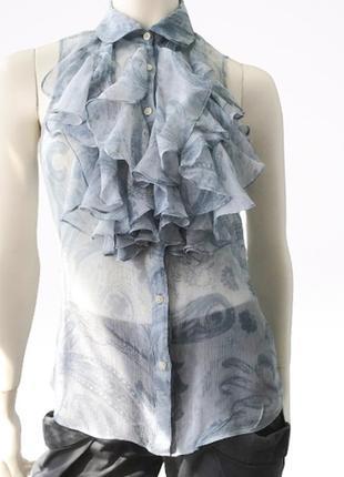 Красивая легкая шелковая блуза  с рюшами престижного  бренда lauren ralph lauren