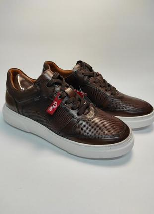 Кроссовки кожаные s.oliver перфорация брендовая обувь туфли