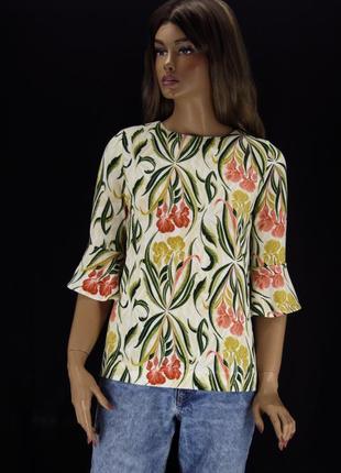 """Красивая брендовая блузка """"next"""" с ирисами. размер uk8/eur36."""