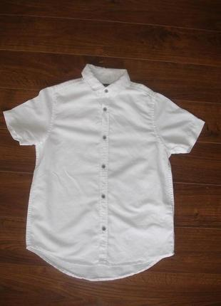 Фирменная next нарядная льняная рубашка мальчику 7-8 лет идеал