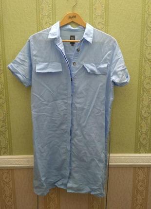 Платье рубашка голубое, размер 38