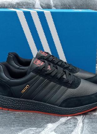 Мужские кроссовки adidas iniki черные, кожаные, осенние
