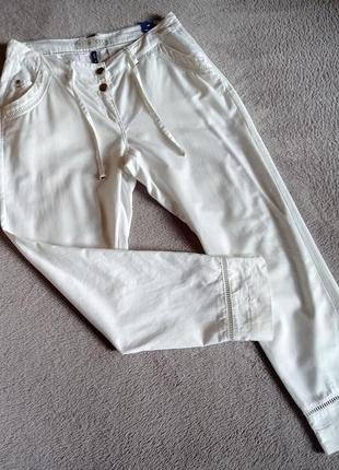 Новые натуральные белые брюки хлопок лен