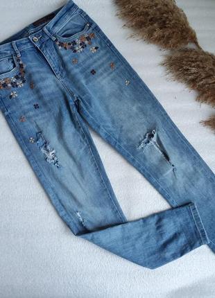 ✨рвані джинси із вишивкою ✨