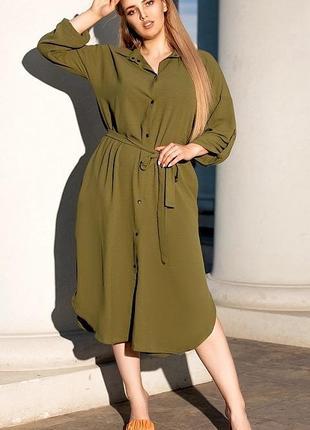 Новое женское стильное летнее платье рубашка хаки