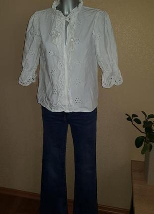 Белоснежная блузка из прошвы коттон