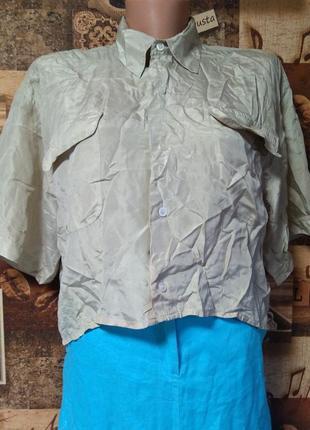 Укороченная шелковая рубашка оверсайз blitz remix