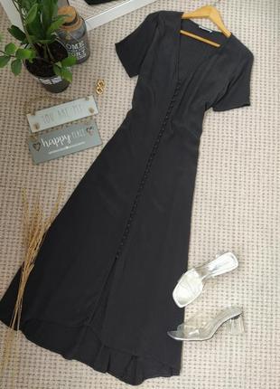 Стильное черное платье на пуговицах длина миди pieces
