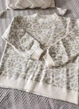 Свитер оверсайз с леопардовым принтом джемпер кардиган кофта пуловер