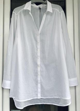 H&m тонкая белая  рубашка оверсайз из хлопка размер л, м