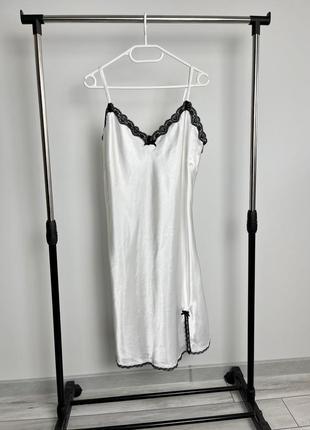 Белый пеньюар ночнушка с кружевными вставками lingerie