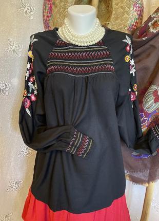Блуза рубашка вышиванка чёрная этно бохо стиль