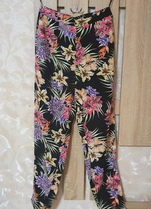 Легкі штани з квітковим принтом, лёгкие штаны летние