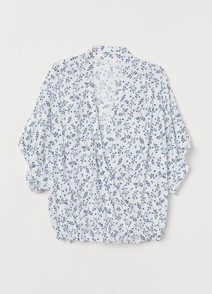 Блуза из натуральной ткани с кроем на запах h&m