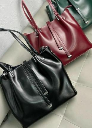 Женская кожаная сумка жіноча шкіряна сумочка шоппер на плечо шопер