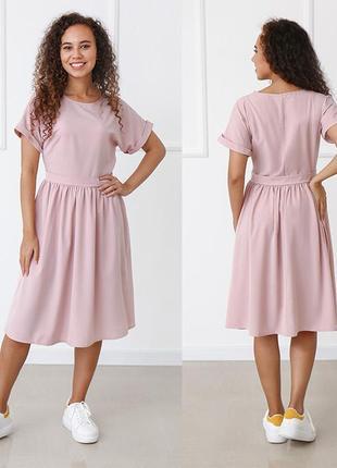 Женское платье миди с короткими рукавами норма и батал