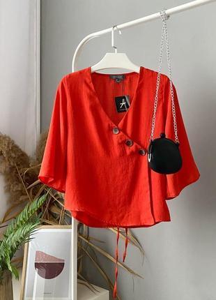 Красивая блузка на запах с пуговицами atmosphere7 фото