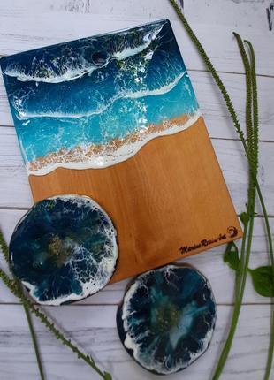 Набор для кухни сервировка стола подарок доска с морем подстаканники эпоксидка