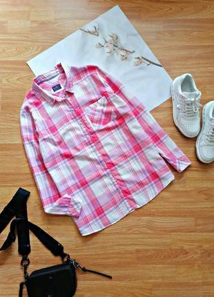 Женская легкая натуральная хлопковая брендовая розовая рубашка в клетку кэжуал m&s - размер 48-52