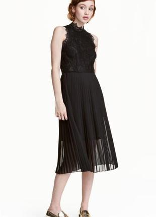 Нарядное вечернее, выпускное платье миди h&m без рукавов