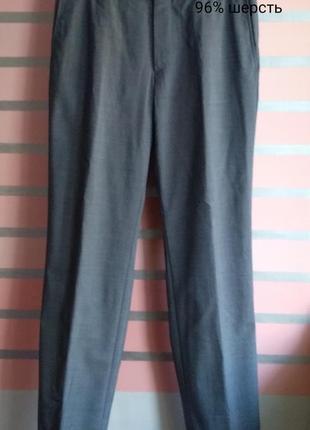 Серые тонкие шерстяные брюки hugo boss