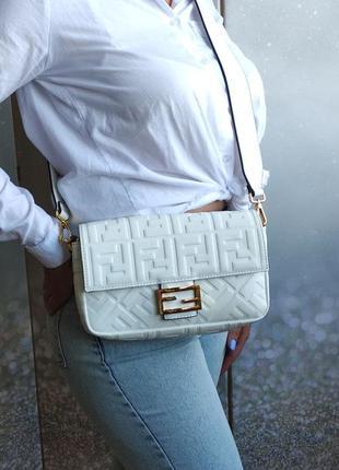 Кожаная сумка кросс боди белая