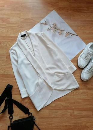 Женский строгий нарядный брендовый белый кремовый молочный жакет блейзер пиджак new look - р 42-44