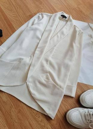 Женский строгий нарядный брендовый белый кремовый молочный жакет блейзер пиджак new look - р 42-446 фото