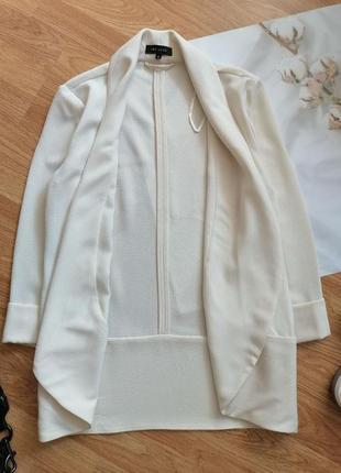 Женский строгий нарядный брендовый белый кремовый молочный жакет блейзер пиджак new look - р 42-443 фото