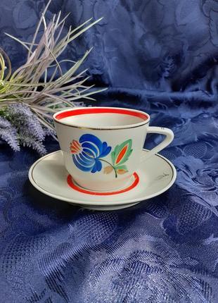 Чайная пара чашка с блюдцем фарфор ручная авторская роспись городница гфз 1960 год винтаж ссср советская