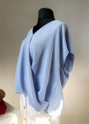 Стильная блуза на запах нежно-голубого цвета george