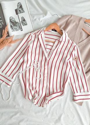 Ультрамодная рубашка свободного кроя в полоску, bershka рубашка в красную полоску, сорочка, рубашка оверсайз, рубашка бойфренд, блузка свободного кроя