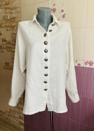 Винтажная льняная австрийская дизайнерская рубашка с массивными пуговицами