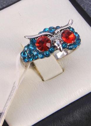 """Кольцо """"совушка"""" со стразами china jewelry р.17,5 бирюзовый"""