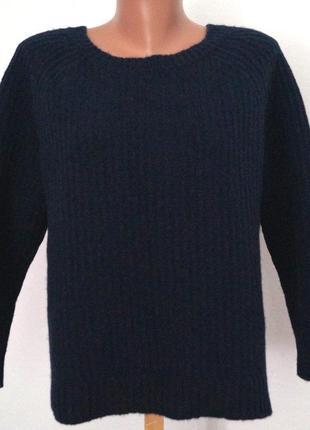 Очень теплый плотный свитер...100% шерсть...р 46-48-50-52...очень темно-синий