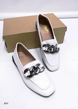 Женские туфли, туфли белые, туфли на низком каблуке, 841