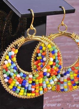 """Серьги """"радуга"""" из бисера china jewelry"""