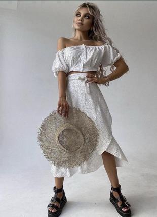 Летний женский костюм топ и юбка, открытые плечи