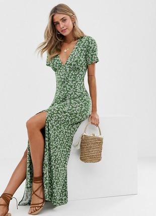 Распродажа натуральное платье asos с пуговицами и разрезами