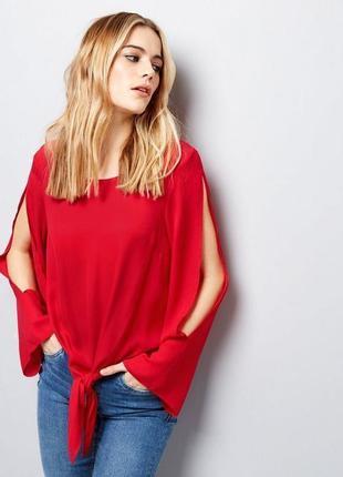 Шифоновая блуза с завязкой спереди и вырезами на рукавах new look