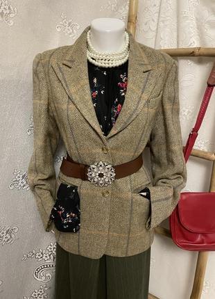 Винтажный шерстяной пиджак жакет кардиган шотландия