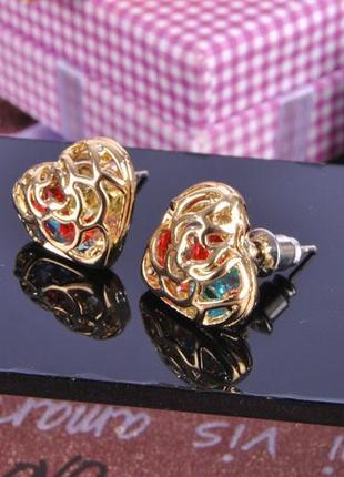 """Серьги """"сердечки"""" со стразами china jewelry"""